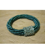 Beaded Bangle Bracelet, Teal & Aqua; Tubular Spiral Herringbone & Peyote... - $36.00
