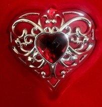 Lenox Bejeweled Silverplate Red Gemmed Heart Ornament Valentine's Day Gi... - $17.16