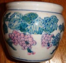 Vintage Ceramic Pot in Fish Bowl Style w/ Grape Motif + Flor - $9.00