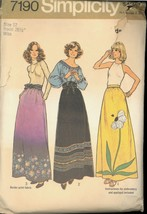 1970s Waist 26 1/2 Flower Applique Maxi Skirt Simplicity 7190 Pattern Boho - $6.99
