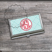Chic circle monogrammed business card case personalized card holder cse - $16.99