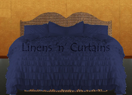 LinensnCurtains Waterfall Ruffle NAVY BLUE Bedspread Set 3pc - $169.00+