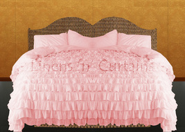 LinensnCurtains Waterfall Ruffle PINK Bedspread Set 3pc - $169.00+