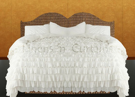 LinensnCurtains Waterfall Ruffle WHITE Bedspread Set 3pc - $169.00+