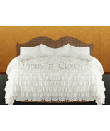 LinensnCurtains Waterfall Ruffle WHITE Bedspread Set 3pc - $169.00+