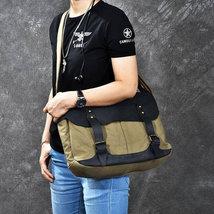 On Sale, Horse Canvas With Leather Messenger Bag, Men Shoulder Bag Satchel Bag image 5