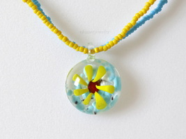 BLUE & YELLOW MURANO GLASS PENDANT - $13.99