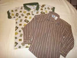 Size 7 Boys Shirts - Lot of 2 - 1 Knit Short Sleeve - 1 Long Sleeve Butt... - $8.99