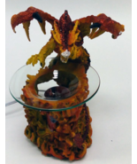 Red Dragon With Flames Polyresin Electric Oil W... - $29.95