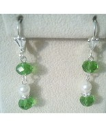 Classy Green Swarovski Crystal Dangle Earrings  - $10.99