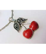 Red Enamel CHERRY genuine MARCASITES and STERLING Silver Pendant and Nec... - €38,35 EUR