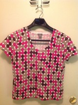 Ann Taylor M Short Sleeve Button Front Sweater Pink and Brown Polka Dotk - $14.55