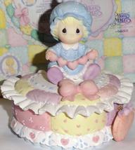 Rare Precious Moments Heart Shaped Baby Trinket Box, 1996, Excellent Con... - $25.00