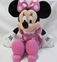 "Disney Minnie Mouse 17"" Plush Pink Polk a Dot Dress Bows Disneyland Collection - $14.96"