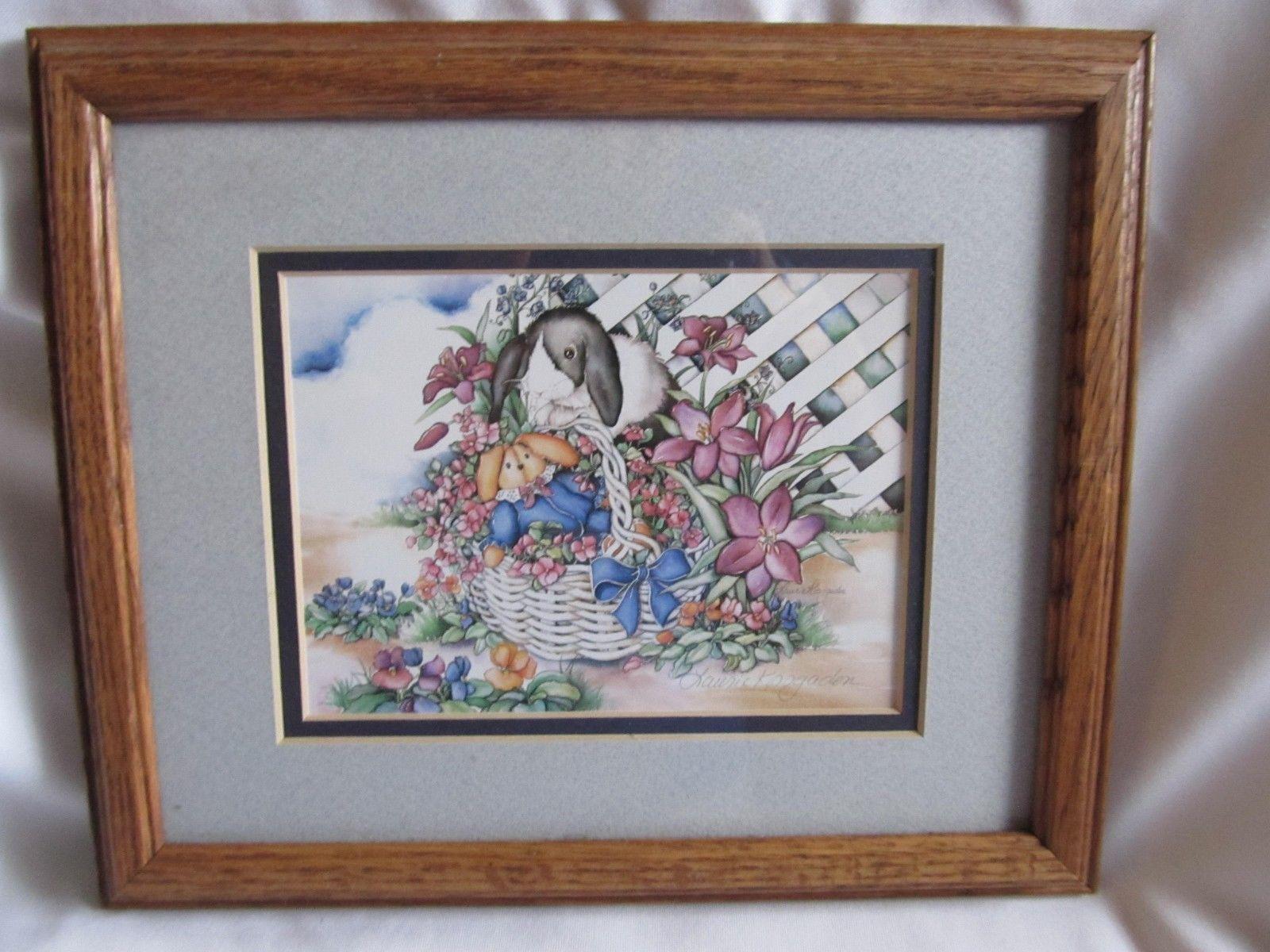 "Laurie Korsgaden SIGNED Peek A Bunny  Print Framed &  Matted 11.5"" x 9.5"""