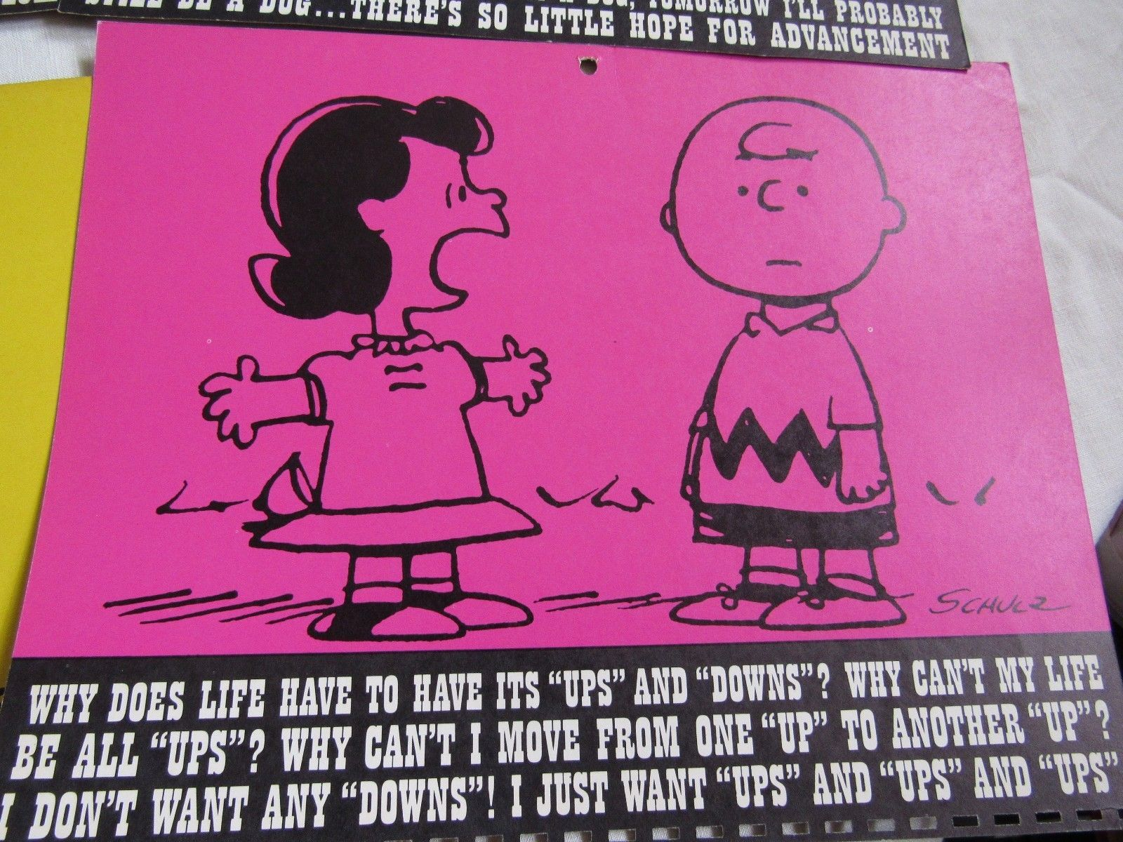 Vintage Peanuts Charlie Brown Color Calendar Art Work 1964 & 1965   Beautiful