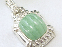 Sterling Green Jade Pendant Enhancer - $56.00