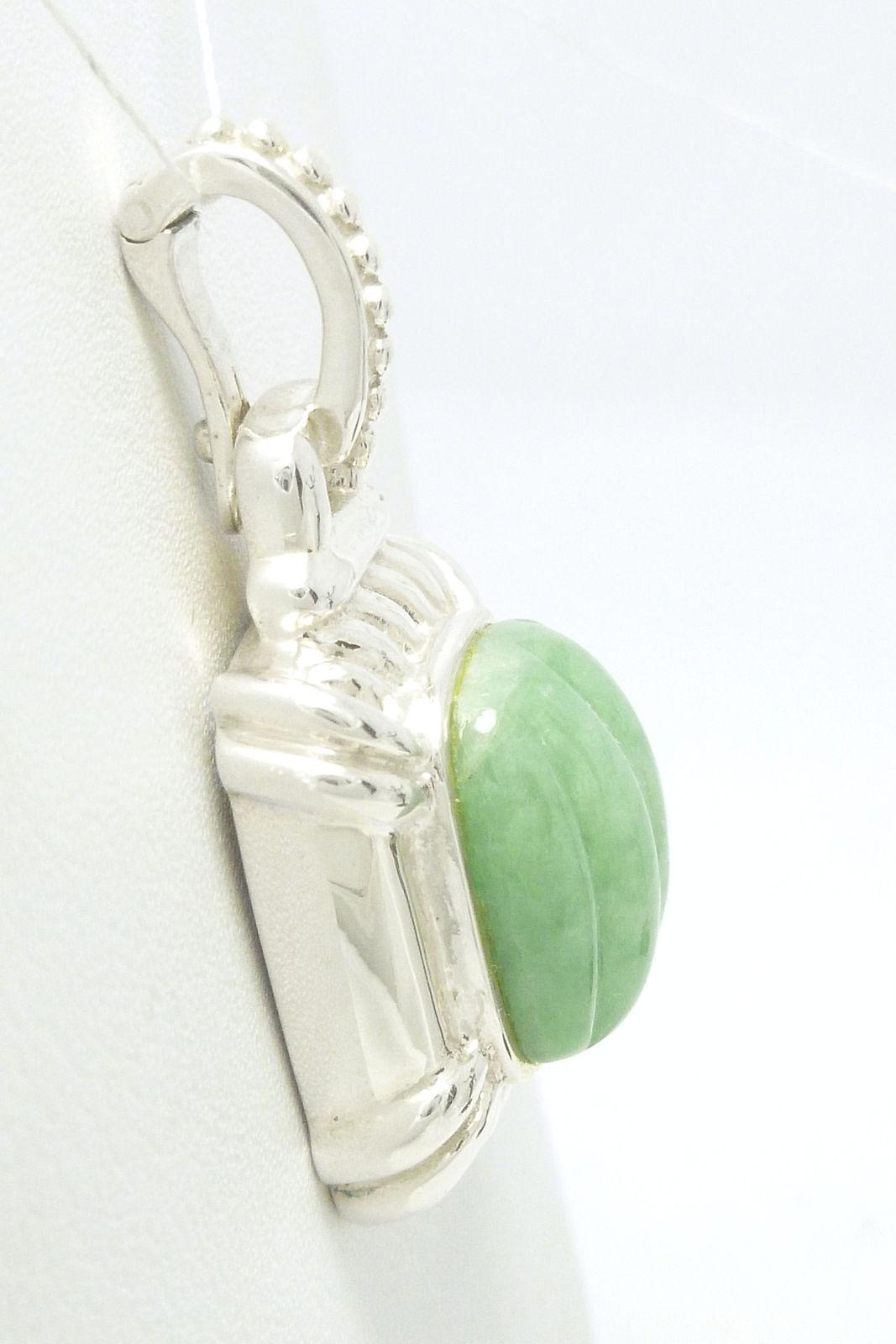 Sterling Green Jade Pendant Enhancer