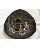 "LONGWY Folklore Lorrain Decorative plate 10.5"" Triangular. Beautiful!  F... - $29.62"