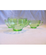 Four Federal Depression glass tea cups GREEN. Two different runs?  Beaut... - $16.78