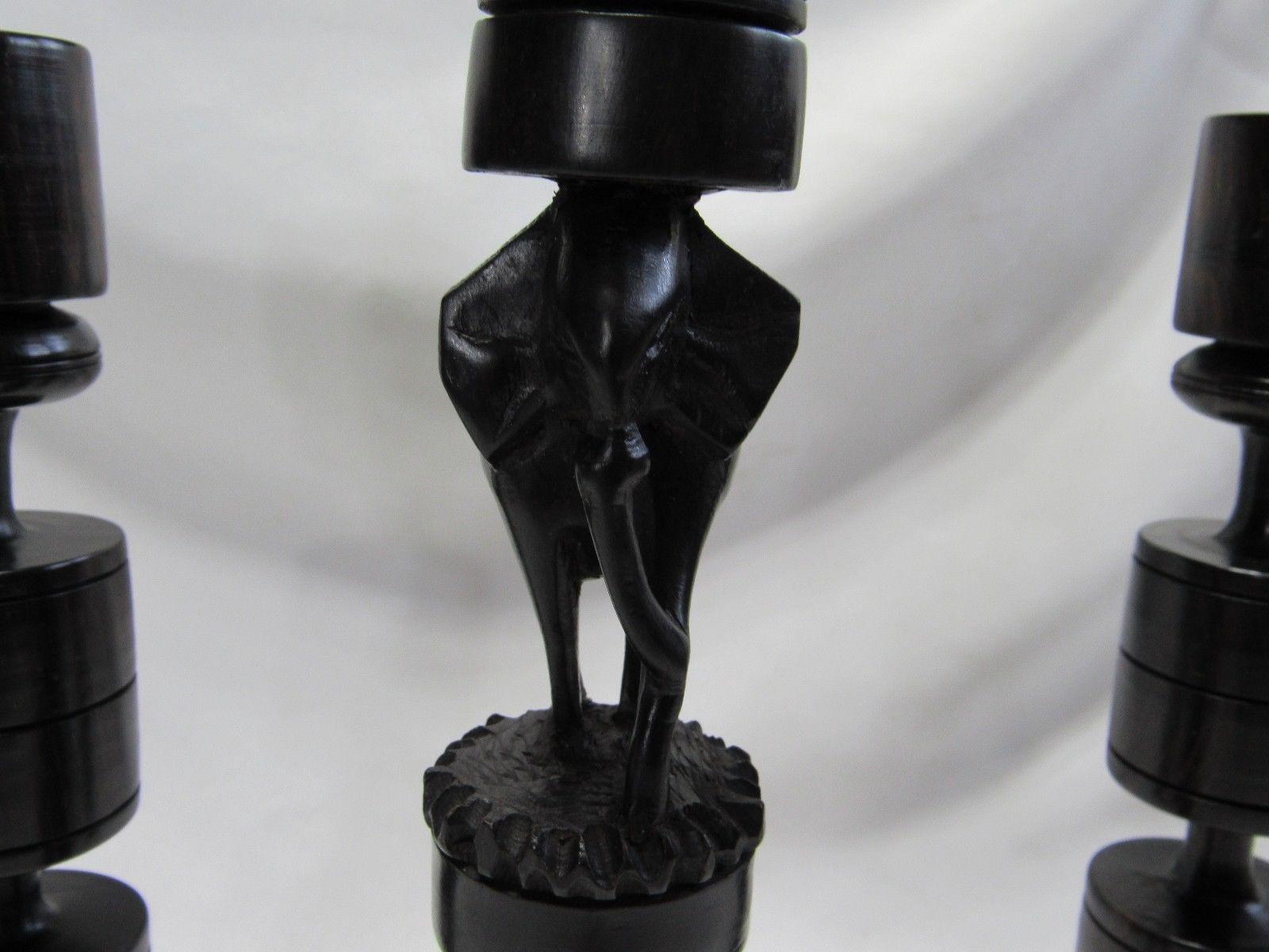 Vintage Set Carved Ebony Wood African Primitive Tribal Elephant Candle Holders