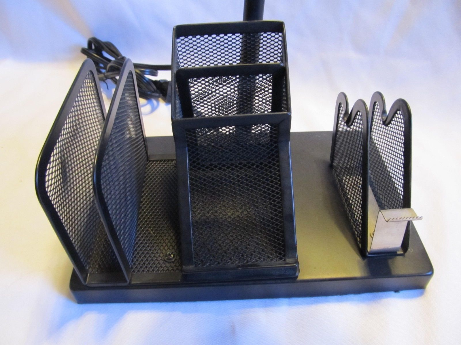 Desk Caddy Office Organizer Mesh Storage Tray Pencil Pen Holder Metal Light Lamp