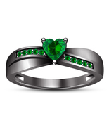 Women's Engagement Ring Heart Shape Green Sapphire Black Gold Plated 925... - $83.99