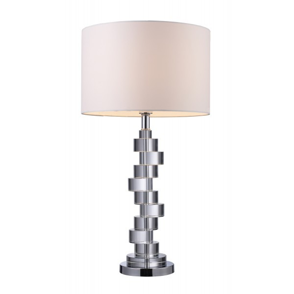 Armagh Table Lamp in Clear Crystal and Chrome with Pure White Faux Silk Shade