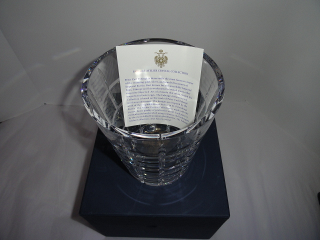 Faberge Metropolitan Clear Pattern Ice Bucket in the original box  image 7