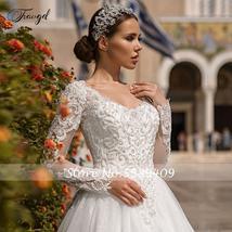 Luxury V Neck A Line Lace Wedding Dress Shiny Applique Beading Long Sleeve Plus  image 3