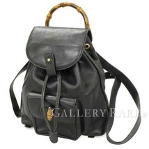 864db1c99817 GUCCI Backpack Calf Leather Black Bamboo 003 1705 0030 Italy Authentic  5403615 - $328.95