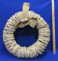 Vine Wreath Wicker Shabby Distressed Ivory w/ Glitter & Burlap Bow Chris... - $33.85