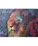 original 16x20 matted drawing lion king zentangle style colorful - $179.99