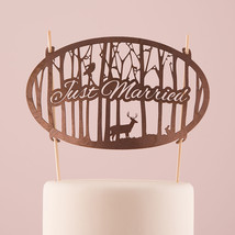 Just Married Woodland Wood Veneer Wedding Cake Topper Nature Animals Rec... - $26.98