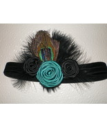 NEWBORN BLACK SKINNY HEADBAND WITH PEACOCK FEATHER, MARABOU AND ROLLED R... - $9.50
