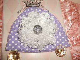 NEWBORN BABY GIRL LAVENDER BEANIE HAT WITH HANDMADE LACE FLOWER - $10.00