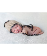 NEWBORN BOY TAN WITH MULTI-COLOR TRIM EARFLAP PHOTO PROP HAT - $14.00