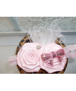NEWBORN BABY GIRL PINK HEADBAND WITH ROLLED ROSETTES & SEQUIN BOW - $7.99