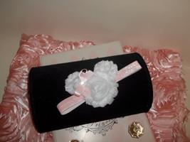 Newborn Baby Girl White Shabby Minnie Headband With Pink Bow - $7.00