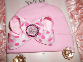 NEWBORN BABY GIRL PINK  BEANIE HAT WITH PINK POLKA DOT BOW - $10.00