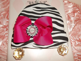 NEWBORN BABY GIRL ZEBRA BEANIE HAT WITH HANDMADE FUCHSIA BOW - $10.00