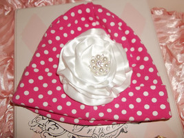 NEWBORN BABY GIRL PINK WITH WHITE POLKA DOT BEANIE HAT WITH HANDMADE FLOWER - $10.00