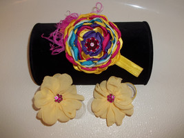 Newborn Handmade Yellow & Multi Colors Satin Flower Headband & Barefoot Sandals - $11.00