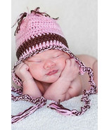 NEWBORN BABY GIRL PINK WITH BROWN BEANIE HAT WITH TIES - $14.00