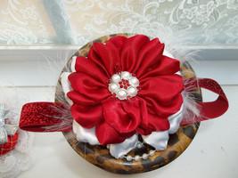 Newborn Baby Girl Red Glitter Headband With Handmade Red & White Flower - $7.99