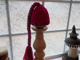 NEWBORN BABY GIRL FUCHSIA BEANIE HAT WITH LONG BRAIDED TAIL - $14.00