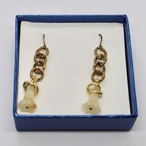 Drop Earrings Aluminum Laminated Yellow Gold with Jade Baby Bell Flower image 3