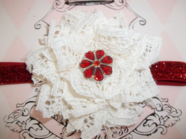 NEWBORN BABY GIRL RED HEADBAND WITH IVORY LACE FLOWER - $7.99
