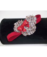 NEWBORN BABY GIRL RED HEADBAND WITH AN ANIMIAL PRINT MINNIE MOUSE HEAD - $7.99