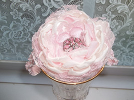 Baby Girl Handmade Pink Satin And Lace Flower Headband (All Sizes) - $7.99